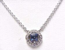 Retired Angelic Square Pendant Blue Rhodium Plate Swarovski Jewelry 5368147