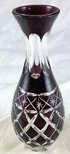 Dark Ruby Red Cut Crystal Clear Glass Bulb Diamond Lattice Star Pattern Bud Vase