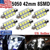 6 X 42MM 5050 8SMD Festoon White 212-2 578 569 Dome Map License LED Light bulb
