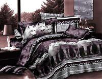Bednlinens Luxury 4 Piece Sheet Set 3d White Mountain Wolf Print King Size
