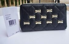 Betsey Johnson Diamond Quilt Bow Party Zip Around Wallet Gold Bows Black NWT
