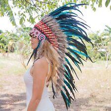 INDIAN HEADDRESS Chief War bonnet Costume Native American Halloween Feathers