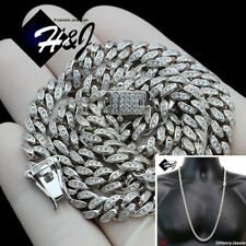 "30""MEN 925 STERLING SILVER 6MM ICY DIAMOND MIAMI CUBAN CURB CHAIN NECKLACE*SN19"
