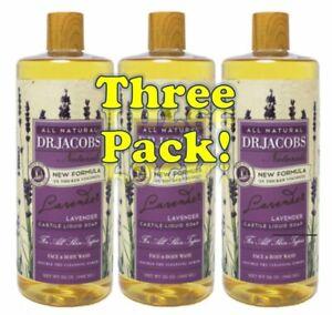 Dr Jacob's Naturals Pure Castile Liquid Soap 32oz (3-PACK) Pick From 12 Scents!