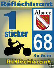 1 Sticker REFLECHISSANT département 68 rétro-réfléchissant immatriculation MOTO