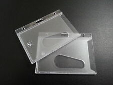 Clear Rigid Plastic ID Card Holder (2 pack) Secure Strong Case with Thumb Hole