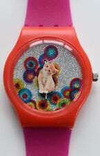 Retro 80s designer watch - Moving Cat Kitten watch
