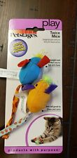 Petstages Twice Mice Multi Color Mouse Mice Rattle Cat Kitten Play Toy PS383