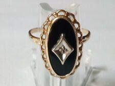 Vintage Women's Black Onyx 10K Gold Ring Size 5.5