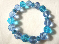 Aqua & Sky Blue Faceted Glass Crystal Bead Bracelet - Handmade - BN