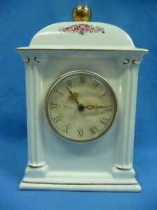 1993 PS Limited Edition Quartz Mantel Clock White Ceramic Gold Trim Pink Flowers