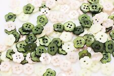 Flower Button Mix Floral Shape Green Cream White Pink Four Two Holes 11mm 100pcs
