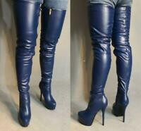 Stylish Blue Nightclub Women Over Knee High Boots Stiletto High Heel Boots Shoes