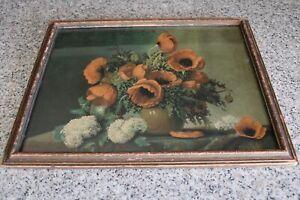 Vintage R. Atkinson Fox Poppies Lithograph Print