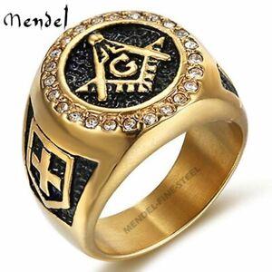 MENDEL Mens Stainless Steel Freemason Gold Masonic Faux Diamond Ring Size 7-15