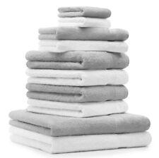 Juego de toallas PREMIUM, 10 piezas, color: gris argentado y blanco - 2 manoplas