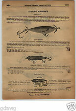 1913 PAPER AD 2 Sided Heddon's Dowagiac Fishing Lure Wilson Musky Special Expert