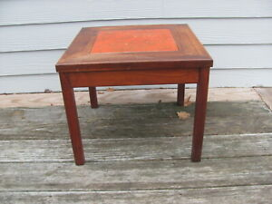 Brown Saltman Side Table Orange Enameled Copper Insert John Keal 60's MCM