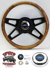 "1965-1969 Ranchero steering wheel BLUE OVAL 13 1/2"" WALNUT 4 SPOKE black"