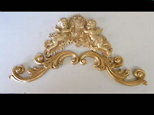 ORNATE SCROLLS AND CHERUBS PEDIMENT ANTIQUE GOLD RESIN