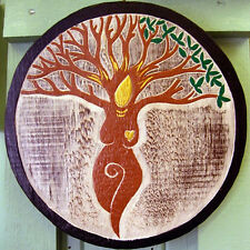 CELTIC TREE GODDESS WALL PLAQUE Hanging SIGN PAGAN Wiccan Hand Carved WOODEN