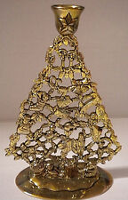 """Brass Christmas Tree Candle Holder Ornate 9"""" tall"""