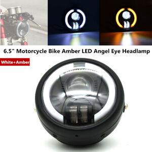 "6.5""Motorcycle Bike Amber LED Angel Eye Headlamp w/Steering Headlight High Beams"