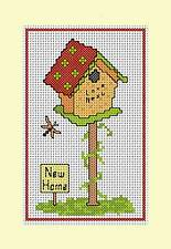 "Counted cross stitch card kit, ''New Home"" Bird House Design. 14 cound aida"