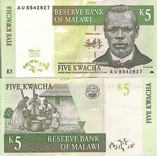 Malawi P36a, 5 Kwacha, Reverend Chilembwe, fish, lake / mashing grain, UNC 1997