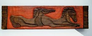 """Unsigned Carved Wood & Red Paint Textured Horses Original Artwork 72"""" x 19"""""""