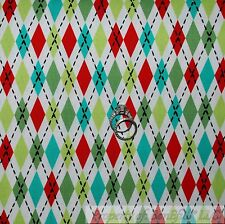BonEful Fabric FQ Cotton Quilt Blue Red Green B&W Argyle Knit Pattern Print Xmas