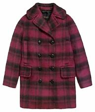 NWT coach red plaid long pea coat size xs MSRP $675