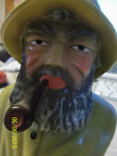 Vintage Chalkware Head fisherman pipe statue Japan sticker Exc Condition