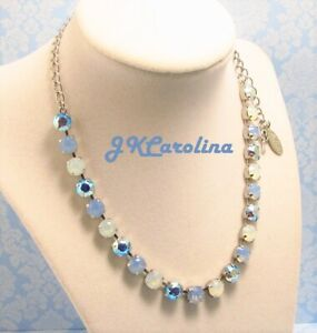 Light Blue Opal 8mm Cup Chain Necklace made w/ Swarovski BLUE AB NECKLACE