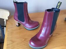 Dr Martens Darla cherry red leather heels boots UK 5 EU 38 goth punk