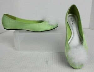 NEW Tinkerbell Ballet Flats Disney Bound Cosplay Wom Sz 9 Green Shoes White Puff