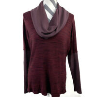 Michael Stars Womens OS One Size Red Long Sleeve Ribbed Cowl Neck Knit Top