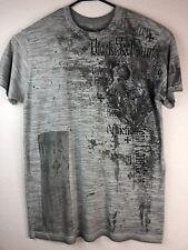 AFFLICTION Mens 2XL Grey Embellished T-Shirt