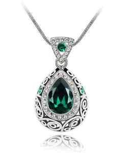 Women Tear Pendant Necklace Blue Purple Emerlad Green New Ladies Jewellery
