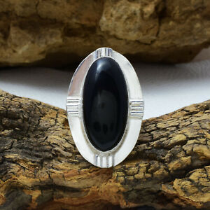 Spectacular Black Onyx Gemstone 925 Sterling Silver Handmade Ring All Size