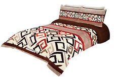 Sorento Full/Queen Size Bed Reversible Comforter/ Blanket Brown Red Coffee White