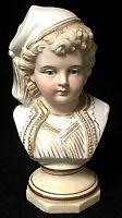 Vintage Bisque Porcelain Young Colonial Man Boy Bust Figurine