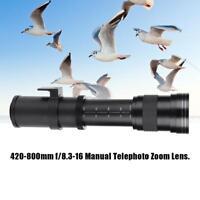 420-800mm F/8.3-16 Manual Telephoto Zoom Lens for Nikon Sony Pentax DSLR Cameras
