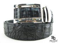 "PELGIO Real Genuine Crocodile Alligator Skin Leather Men's Belt 46"" Long Black"