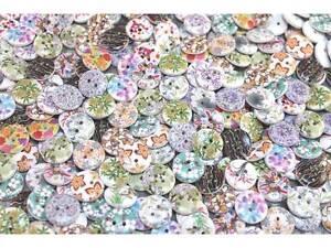 50 Stück Kinderknöpfe Knöpfe Holz Blumen Scrapbooking 15mm #9330