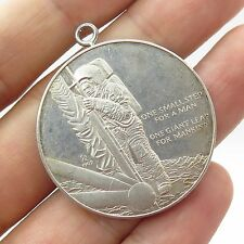 1969 Vtg 925 Sterling Silver First Man in Space Medallion Pendant