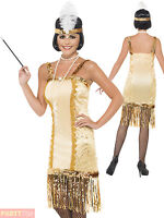 Ladies Gold Charleston Flapper Costume 1920s Fancy Dress Womens Sequn Outfit