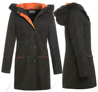 New Womens Hooded Fur Parka Wool Coat Ladies Duffle Jacket Size 8 10 12 14 Black