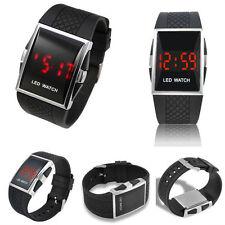 Unisex Quarz Armbanduhr Silikonband Digital Wasserdicht Sport LED Neu Schwarz
