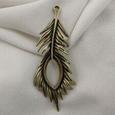 36715 Antiqued Bronze Vintage Alloy Peacock Feather Pendant Charms Decor 12pcs